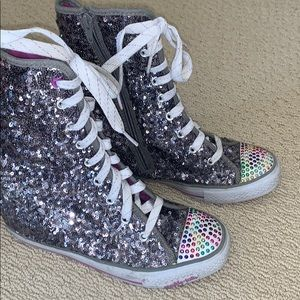 Sketchers silver sequined wedge tall sneakers 5
